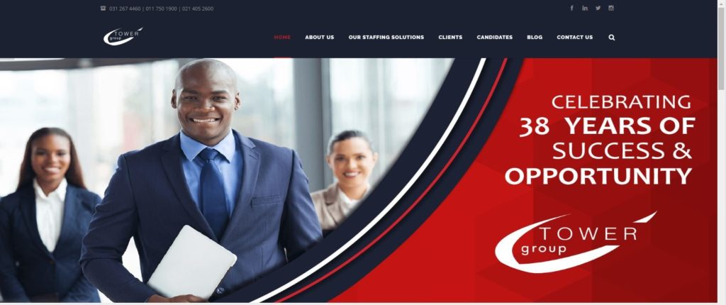 The Home Page of the Tower Group Recruitment Website