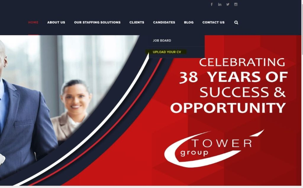 The Upload Your CV Button on the Tower Group Website